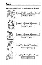 English Worksheets: What Senses Am I Using?