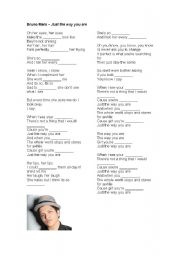 English Worksheets: Just the way you are - Bruno Mars (with activity)