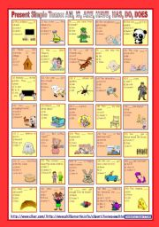 Present Simple Tense: AM, IS, ARE, HAVE, HAS, DO, DOES (and their negative forms) *** 2nd part *** with key *** fully editable