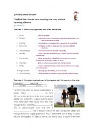 review of the movie The Blind Side - vocabulary work