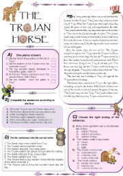 English Worksheets: The Trojan Horse. Reading text + 4 activities