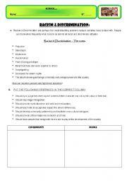 English worksheet: RACISM & DISCRIMINATION