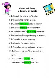 English Worksheet: Winter and Spring in Israel vs. Canada