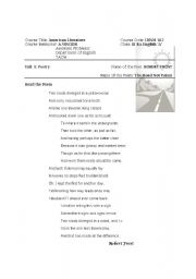 English Worksheet: the road not taken