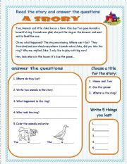 Worksheets Short Story Worksheet english teaching worksheets short stories a story