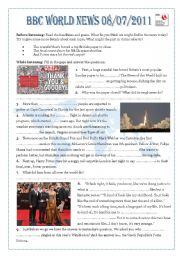 English Worksheets: BBC World News For Schools 08/07/2011