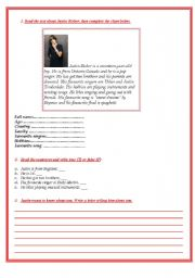 English Worksheets: Read about Justin Bieber