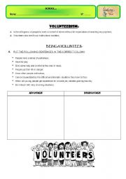 English Worksheets: VOLUNTEERS