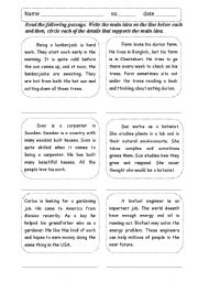 English Worksheet: Main idea supporting details