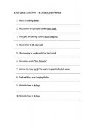 English Worksheets: Make questions for the underlined words