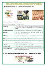 English Worksheet: Conversation/Writing -CLONING/GENETICS
