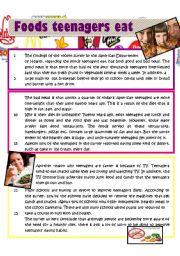 English Worksheet: Foods teenagers eat