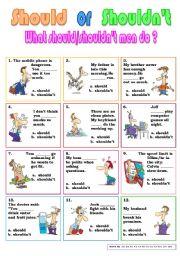 English Worksheet: should or shouldn´t