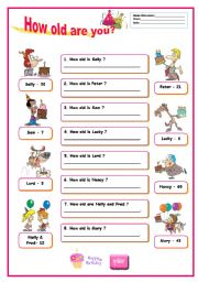 asking the age.how old are you ? (answer key included )
