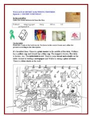 English Worksheets: WALLACE AND GROMIT -THE WRONG TROUSERS-EPISODE 1