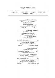 English Worksheet: �Imagine� song lyrics, gap filling exercise