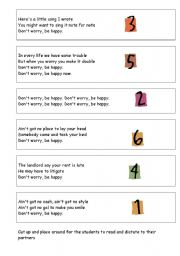 English Worksheet: Don´t Worry Be Happy - running dictation activity