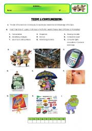 English worksheet: TEENS & CONSUMERISM