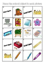 School Objects Boardgame