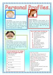 English Worksheet: PERSONAL PROFILES.