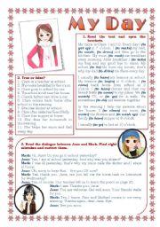 English Worksheet: My Day