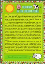 English Worksheet: READING COMPREHENSION (1) - HOLIDAYS IN THE COUNTRYSIDE
