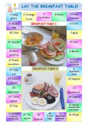 English Worksheet: Boardgame: Lay the Breakfast Table!