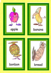 English Worksheet: FUNNY FOOD FLASHCARDS - 44 AWESOME FLASHCARDS WITH LABELS!!! - FOR VERY UNIVERSAL USE! :o)