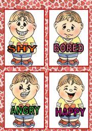 English Worksheet: FEELINGS FLASH CARDS