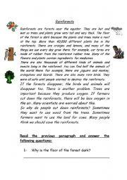 English Worksheet: reading (rainforest)