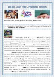 English Worksheet: TAKING A GAP YEAR - PERSONAL STORIES