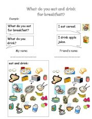 English worksheet: Breakfast Survey