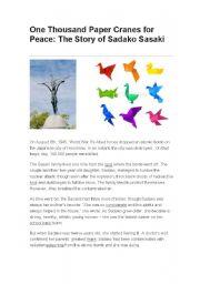 English Worksheets: ONE THOUSAND PAPER CRANES FOR PEACE: THE STORY OF SADAKO SASAKI