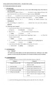 English Worksheets: Vocab questions (with key answers)
