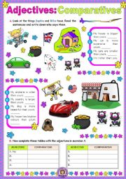English Worksheet: Adjectives  -  Comparatives