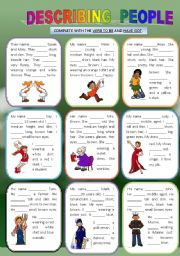 English Worksheet: DESCRIBING PEOPLE (verbs To Be and Have got)