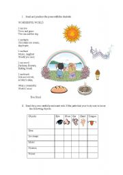 English Worksheet: Senses poem