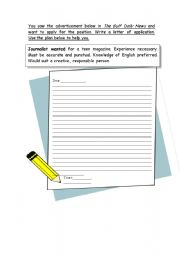 English Worksheets: a letter applying for a job2