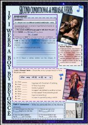 English Worksheet: SECOND CONDITIONAL & CONTRACTED FORM & PHRASAL VERBS THROUGH BEYONC� SONG + KEY INCLUDED!