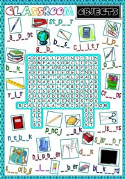 English Worksheet: Classroom objects - WORDSEARCH (B&W included)