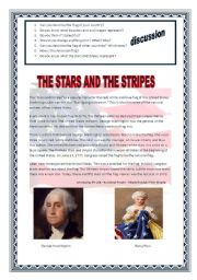 English Worksheet: The stars and stripes on the American Flag