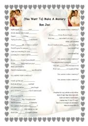 English Worksheets: (You Want To) Make A Memory Bon Jovi