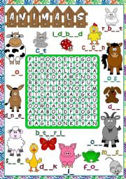 English Worksheet: Animals - WORDSEARCH (B&W included)