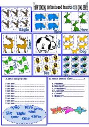 English Worksheet: Numbers+animals+adjectives degrees +ordinal numbers consolidation.