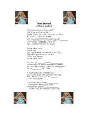 English Worksheet: Hannah Montana song gap-fill - True Friend
