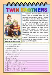 English Worksheets: TWIN BROTHERS (READING AND COMPREHENSION)