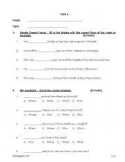 English Worksheets: Year 4 Examination Paper
