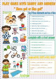 English Worksheet: Play game with Sandy and Andrew - Have got or Has got