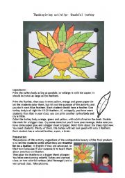English Worksheet: Thankful turkey