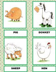 English Worksheets: FARM ANIMALS  FLASH CARDS